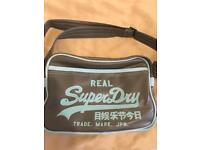 Grey and Blue Superdry Mini Messenger Bag