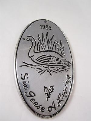 Vintage 1983 Wilton Armetale Metal Christmas Ornament 6 Six Geese A Laying