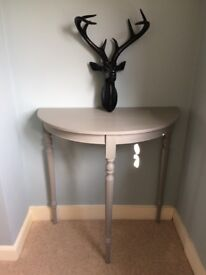 Demi lune, half moon console table painted vintage grey