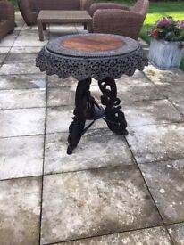 ANTIQUE SHOP INTRICATELY CARVED INDIAN WOOD TABLE WITH DRAGON DETAILING RRP£600 - MOVING OUT SALE!!