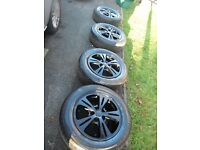 SET 4 ,16 INCH,STUNNING FORD MONDEO/C MAX/B MAX /BLACK ALLOY WHEELS C/W CENTRES AND 215/60/16 TYRES