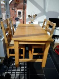 Wooden Kitchen Table & 4 matching Chairs - As New - Buyer to Collect