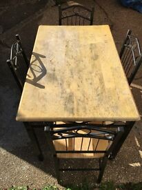 Cast Iron & Wood Table with 4 Matching Chairs Set