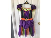 Girls Age 9-10 colourful Witch Costume & Hat.