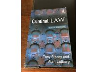 Criminal Law - Fifth Edition (Tony Storey and Alan Lidbury) - Used (excellent condition)