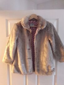 Little Dickins & Jones light mink girl's faux fur coat age 7-8