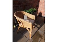 Basket chair, cane , like Lloyd Loom Chair - ideal for conservatory/bedroom/garden