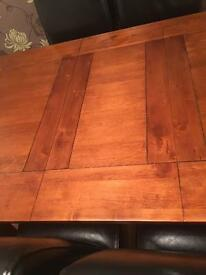 Extendable Dining Room Table and 4 Real Leather Chairs
