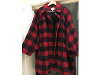 Jovonna Women's Cape Coat, Black and Red checkered size M/L