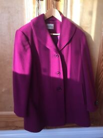 Ladies wool and cashmere coat, size 12. Very good condition only worn once