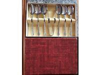 Boxed teaspoon and sugar prong service set.