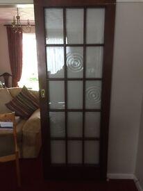 2 Wooden Sliding Doors with Georgian glass panes