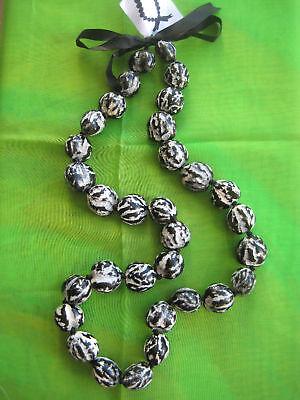 Hawaii Wedding / Graduation Kukui Nut Lei Hula Necklace~ BLACK/WHITE ( QTY 2 )