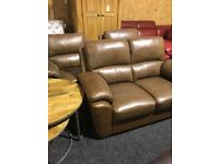 New-exDisplay quality brown leather 2/1/1 suite