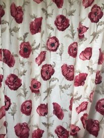 Laura Ashley lined cream and raspberry floral curtains