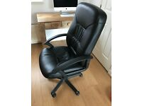 High back black leather computer chair