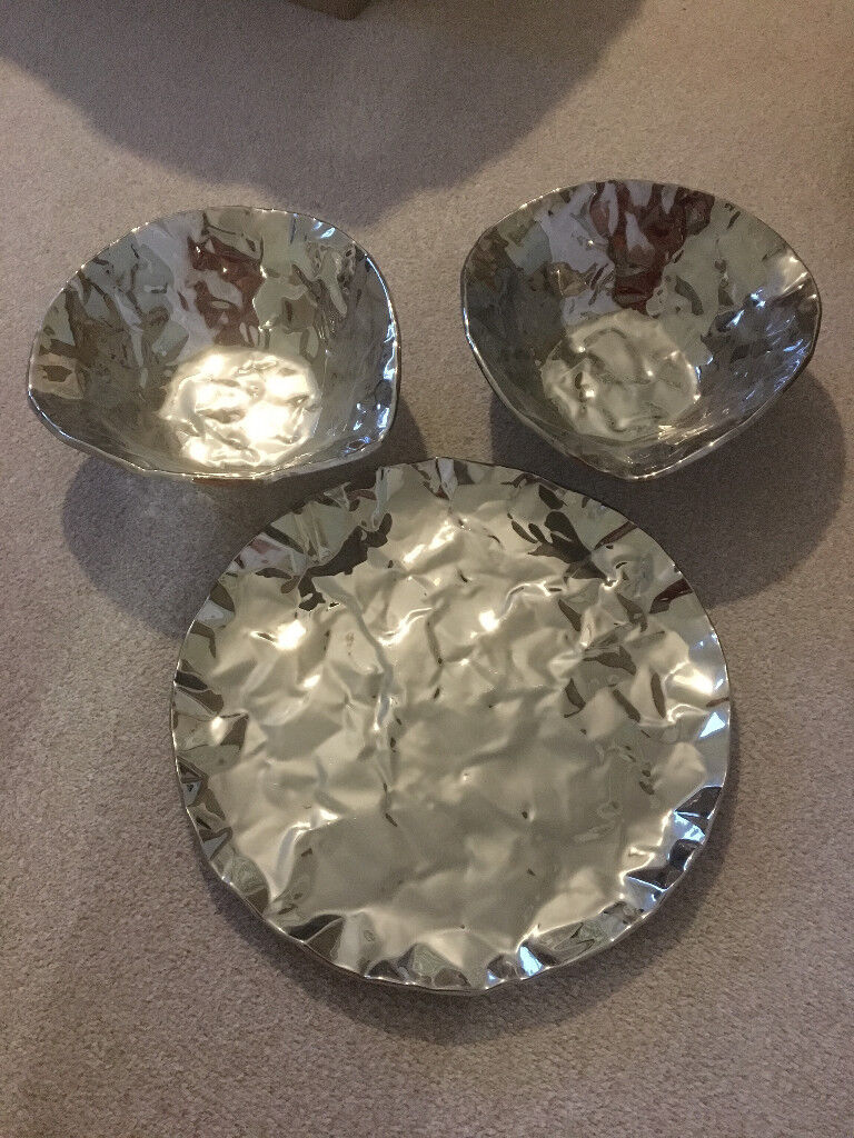 *NEW LOWER PRICE* Dwell Crinkle Metal Bowls & Serving Plate