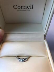 Platinum Ring with Three diamonds (brilliant cut) in a claw set.