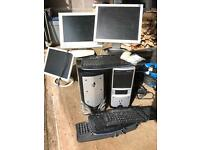 Two tower computers with accessories
