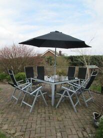 8 seater black garden furniture set with umberella and umbererlla stand