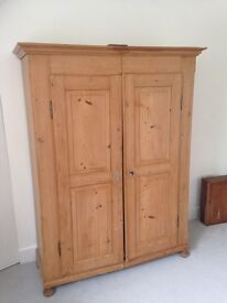 Antique Pine Double Wardrobe Victorian