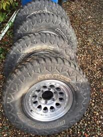 "Toyota Hilux 15"" wheels and tyres jap stud pattern shogun ranger"