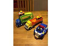 Fisher price little people dumper truck, car transporter, Tonka police car