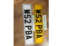 W52 PBA private cherished personalised personal registration plate number