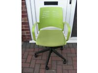 Arm Chair Student Green Padded Seat Swivel Gas Lift Height Adjustable on Casters