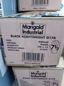 We have 5 boxes with 12 pairs per box of the industrial marigold gloves all new