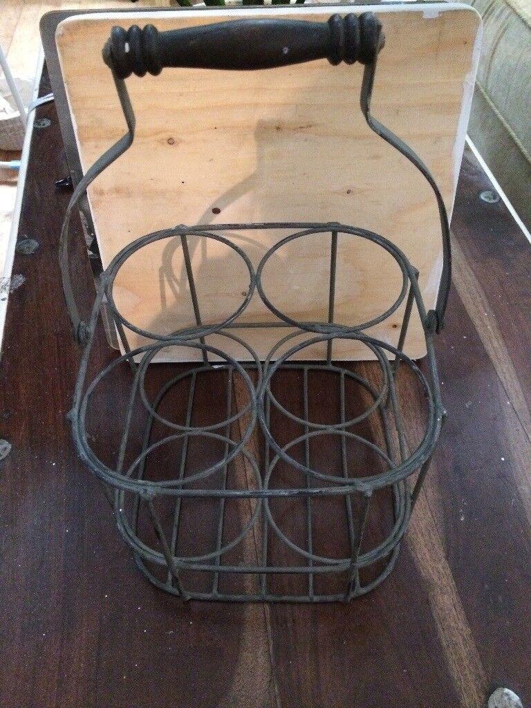 Vintage metal, with wood handle, 4 bottle carrier