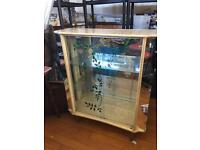 VINTAGE DISPLAY DRINKS CABINET 1950s WITH SPIDERS WEB ON GLASS UNUSUAL