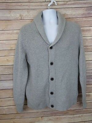 H&M Wool Blend Small gray cardigan sweater button front ribbed knit Mens S NWT