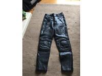 Leather biking trousers size 12 women's black