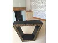 Console table with bamboo inset, very unusual piece