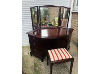 Stag minstrel rare corner dressing table and stool vintage African cherry wood