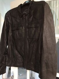 All Saints black leather jacket size xxl excellent condition