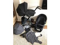 Stokke Xplory V4 TRUE BLACK EDITION with additional stripe textiles too £480