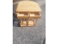 space saver drop leaf table with 2 stools in light brown wood