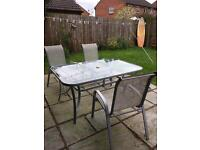 Last chance to buy * Patio table, chairs & parasol stand