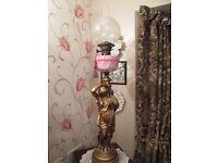 Victorian Cranberry Oil Lamp depicting Greek Figurine