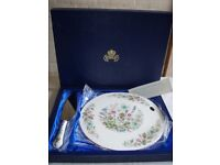 Aynsley bone china cake plate and slice