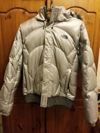 L Silver North Face Women's Bomber Jacket