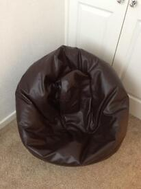 Large brown faux leather bean bag for sale