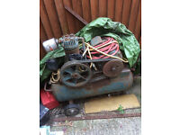 compressor for sale, sherry twin piston, had this in my workshop for spraying, about 10 cu ft ish
