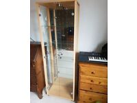 Display cabinet (beech effect) with lighting and mirrored back. 4 glass shelves