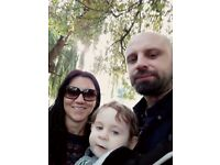 Family with one year old baby looking for one or two bedroom flat/house.