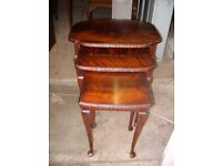 Antique vintage Queen Anne style traditional mahogany nest of tables by H.Shaw London c.1920