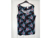 NWT GEORGE LADIES SLEEVELESS FLORAL VISCOSE STRETCH TOP SIZE 24