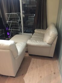 Beautiful sofa / armchair / footrest set (also available individually), leather 1 year old Harveys